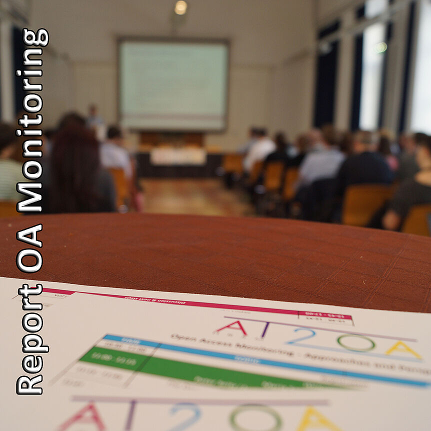 "Foto: ""AT2OA Monitoring Workshop"" von Tobias Zarka, lizenziert mit CC BY 4.0, https://creativecommons.org/licenses/by/4.0/, Änderung hier: beschnitten und Text hinzugefügt"