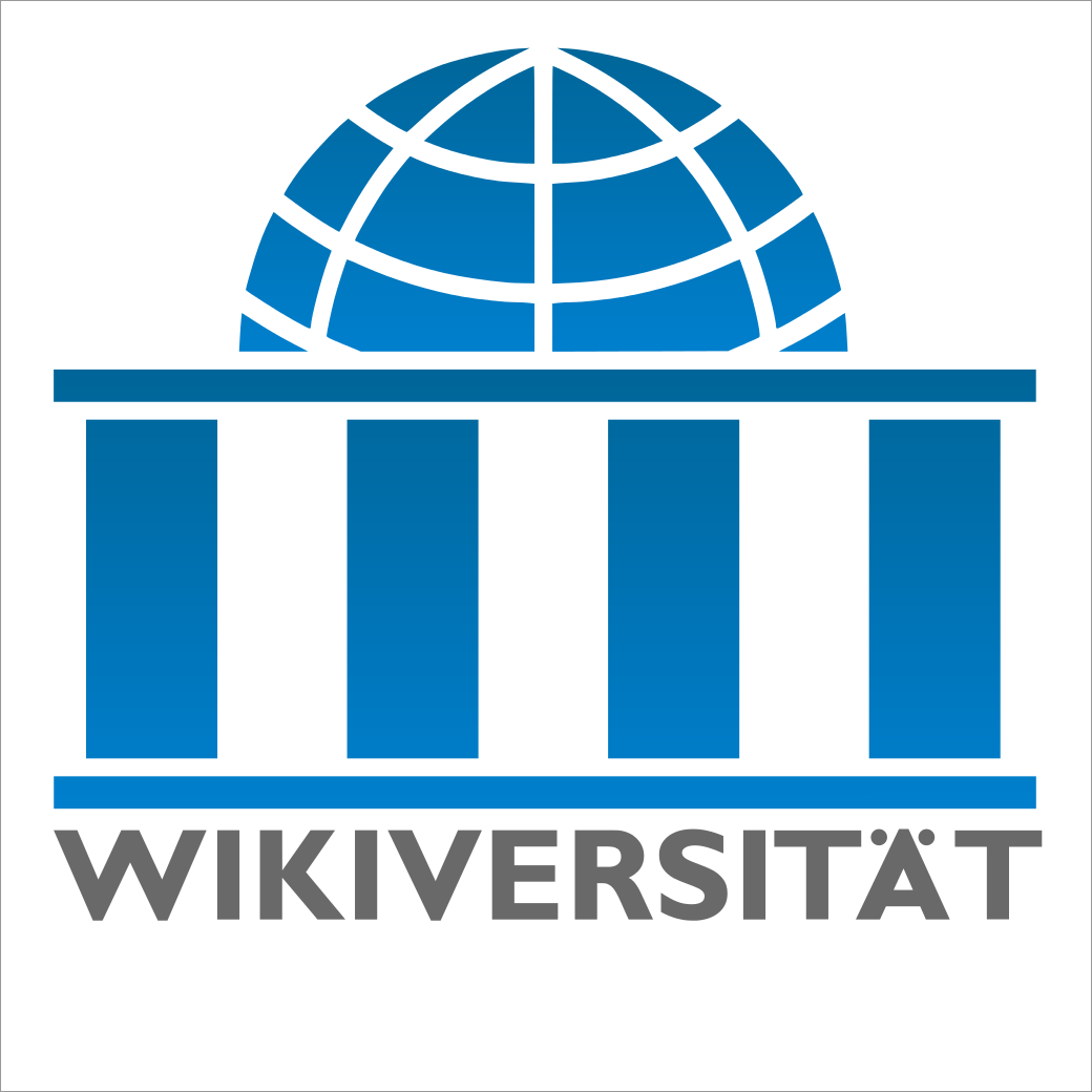 Bild: Wikiversity-logo-de, Quelle: https://commons.wikimedia.org/wiki/File:Wikiversity-logo-de.svg, Lizenz: CC BY-SA 3.0 https://creativecommons.org/licenses/by-sa/3.0/deed.de